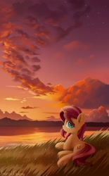 Size: 1280x2063 | Tagged: safe, artist:emeraldgalaxy, sunset shimmer, pony, unicorn, cute, eye clipping through hair, female, looking at you, looking back, looking back at you, lying down, mare, prone, scenery, solo, sunset, sweet dreams fuel, twilight (astronomy), underhoof, water