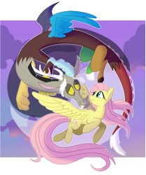 Size: 2534x3030   Tagged: safe, artist:eveeka, discord, fluttershy, draconequus, pegasus, pony, discoshy, female, flying, lidded eyes, looking at each other, love, male, mare, shipping, smiling, straight, windswept mane, yin-yang