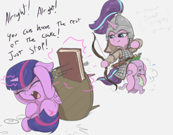 Size: 1564x1220 | Tagged: safe, artist:t72b, spike, starlight glimmer, twilight sparkle, alicorn, dragon, pony, unicorn, armor, arrow, book, book abuse, bow (weapon), carrying, descriptive noise, eyes closed, female, historical roleplay starlight, history, hoof hold, levitation, magic, mare, mongol, ponies riding dragons, riding, scared, sword, telekinesis, tired, twilight sparkle (alicorn), weapon, yelling
