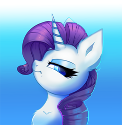 Size: 2335x2378 | Tagged: safe, artist:ravensunart, rarity, pony, unicorn, bust, chest fluff, ear fluff, eyeshadow, female, frown, glare, gradient background, high res, horn, looking at you, makeup, mare, portrait, profile, rarity is not amused, solo, unamused