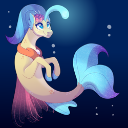 Size: 2100x2100 | Tagged: safe, artist:uunicornicc, princess skystar, seapony (g4), my little pony: the movie, bioluminescent, blue eyes, bubble, cute, female, fin wings, fins, fish tail, flower, flower in hair, freckles, jewelry, necklace, pearl necklace, skyabetes, smiling, solo, underwater, water, wings