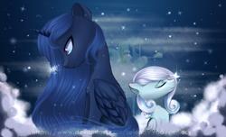 Size: 2800x1700 | Tagged: safe, artist:selena9966, princess luna, oc, oc:snowdrop, pony, snow, snowflake