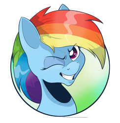 Size: 1456x1490 | Tagged: safe, artist:saturdaymorningproj, rainbow dash, bust, eyes closed, looking at you, one eye closed, portrait, simple background, transparent background, wink