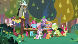 Size: 1920x1080 | Tagged: safe, screencap, apple bloom, cup cake, discord, granny smith, scootaloo, spike, sweetie belle, the big mac question, apple, cutie mark crusaders, food, pear, pear tree, pie, tree