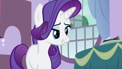 Size: 1280x720 | Tagged: safe, screencap, rarity, pony, unicorn, spike at your service, female, lidded eyes, mare, solo
