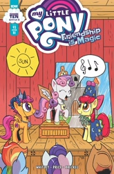 Size: 2063x3131 | Tagged: safe, artist:pony-berserker, idw, apple bloom, applejack, rainbow dash, rarity, scootaloo, sweetie belle, spoiler:comic, spoiler:comic93, clothes, comic cover, costume, cover, implied princess celestia, implied princess luna, implied star swirl the bearded, season 10, singing, stage