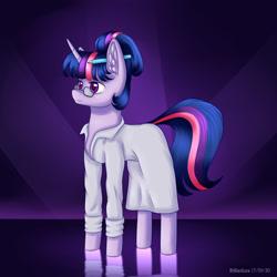 Size: 2000x2000 | Tagged: safe, artist:brilliant-luna, sci-twi, twilight sparkle, pony, unicorn, abstract background, chest fluff, clothes, ear fluff, female, glasses, lab coat, mare, pencil, solo, solo female, unicorn twilight
