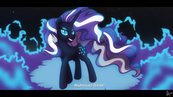 Size: 1920x1080 | Tagged: safe, artist:whitequartztheartist, idw, nightmare rarity, unicorn, blue fire, magic, night, shadows