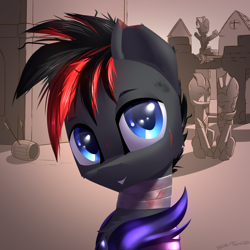 Size: 2600x2600 | Tagged: safe, artist:shido-tara, oc, oc only, bat pony, commission, guard, looking at you, simple background, smiling, ych result