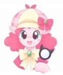 Size: 1729x2048 | Tagged: safe, artist:tstivv, pinkie pie, pony, alternate hairstyle, bust, clothes, cosplay, costume, crossover, cute, deerstalker, detective, diapinkes, female, hat, hoof hold, looking at you, magnifying glass, mare, open mouth, sherlock shellingford, simple background, smiling, solo, suzuko mimori, tantei opera milky holmes, tstivv is trying to murder us, voice actor joke, white background