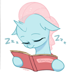 Size: 2600x2600 | Tagged: safe, artist:maren, ocellus, changeling, book, cute, diaocelles, eyes closed, female, high res, hoof hold, onomatopoeia, simple background, sleeping, solo, sound effects, that changeling sure does love books, white background, zzz