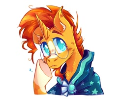 Size: 1000x800 | Tagged: safe, artist:silversweety, artist:silvrfissh, sunburst, pony, unicorn, blaze (coat marking), cheek fluff, chest fluff, clothes, cute, ear fluff, facial hair, glasses, goatee, looking at you, male, robe, simple background, solo, sunbetes, sunburst's cloak, white background