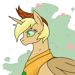 Size: 900x900 | Tagged: safe, artist:pony quarantine, derpibooru exclusive, applejack, oc, oc only, oc:hyx, oc:sod buster, alicorn, pony, alicornified, jewelry, nightmare applejack, nightmarified, race swap, regalia, response, simple background, solo, white background