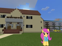 Size: 2048x1536 | Tagged: safe, artist:magister39, artist:topsangtheman, pursey pink, earth pony, pony, house, looking at you, minecraft, solo