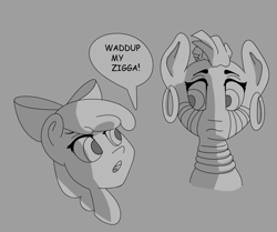 Size: 1344x1123 | Tagged: safe, artist:dog giraffe, apple bloom, zecora, ziggers