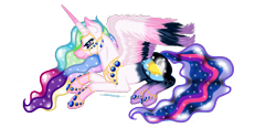 Size: 1560x722 | Tagged: safe, artist:zeepaarden, princess cadance, princess celestia, princess luna, twilight sparkle, alicorn, pony, fusion, solo, twilight sparkle (alicorn)