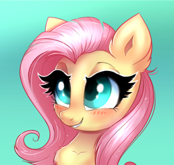 Size: 1864x1767 | Tagged: safe, artist:ravensunart, fluttershy, pegasus, pony, blushing, chest fluff, cute, female, shyabetes, simple background, solo