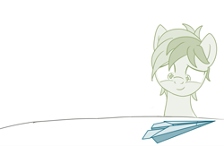 Size: 797x519 | Tagged: safe, artist:sintakhra, sandbar, earth pony, pony, amazed, looking at something, looking down, paper airplane, smiling, solo