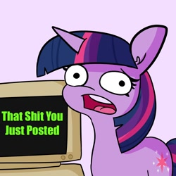 Size: 1500x1500 | Tagged: safe, artist:tjpones, twilight sparkle, pony, unicorn, computer, faic, female, looking at you, mare, meme, open mouth, solo, unicorn twilight