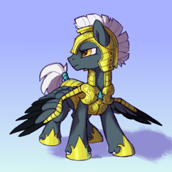 Size: 2000x2000 | Tagged: safe, artist:kotya, oc, oc:tempest streamrider, pegasus, pony, full body, guard, simple background, solo, wings