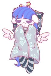 Size: 1364x2012 | Tagged: safe, artist:musicfirewind, oc, oc only, oc:snow pup, pegasus, pony, blanket, clothes, cloud, collar, eyes closed, pet tag, pillow, simple background, sleeping, socks, stars, striped socks, transparent background
