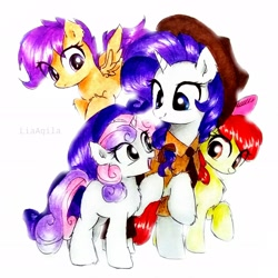 Size: 2322x2322 | Tagged: safe, artist:liaaqila, apple bloom, rarity, scootaloo, sweetie belle, earth pony, pegasus, pony, unicorn, apple bloom's bow, bow, clothes, commission, cowboy hat, cutie mark crusaders, fanfic art, female, filly, flying, hair bow, hat, jeans, mare, necktie, open mouth, pants, police, police officer, police uniform, raised hoof, raricop, scootaloo can fly, sheriff, shirt, simple background, traditional art, white background