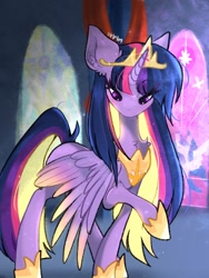 Size: 1536x2048 | Tagged: safe, artist:siripim111, twilight sparkle, alicorn, pony, the last problem, chest fluff, crown, ear fluff, female, hoof shoes, jewelry, mare, peytral, princess twilight 2.0, regalia, solo, stained glass, stained glass window, twilight sparkle (alicorn)