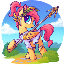 Size: 1000x1000 | Tagged: safe, artist:lollipony, fluttershy, pegasus, pony, alternate hairstyle, clothes, cosplay, costume, crossover, cute, ear fluff, eye clipping through hair, female, laurel, mare, mercyshy, overwatch, profile, scenery, shyabetes, smiling, solo