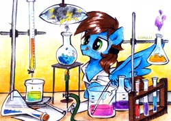 Size: 3064x2182 | Tagged: safe, artist:liaaqila, oc, oc only, oc:blue scroll, pegasus, pony, chemistry, clothes, lab coat, laboratory, male, safety goggles