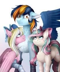 Size: 800x960 | Tagged: safe, artist:buvanybu, oc, oc:bay breeze, oc:mirabelle, oc:skysail, hippogriff, pegasus, unicorn, blushing, bow, clothes, socks