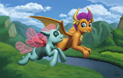 Size: 1750x1109 | Tagged: safe, artist:zevironmoniroth, ocellus, smolder, changedling, changeling, dragon, cute, diaocelles, dragoness, duo, duo female, female, flying, forest, mountain, open mouth, river, scenery, signature, smiling, smolderbetes, tree