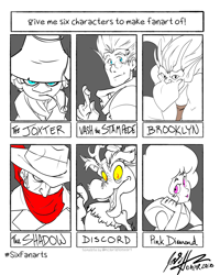 Size: 1200x1500 | Tagged: safe, artist:kaleidraws, discord, draconequus, gargoyle, human, brooklyn, bust, clothes, crossover, female, gargoyles, hat, joxter, male, moomins, open mouth, partial color, pink diamond (steven universe), pipe, scarf, signature, six fanarts, smiling, steven universe, trigun, vash the stampede
