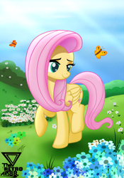 Size: 2400x3428 | Tagged: safe, artist:theretroart88, fluttershy, butterfly, pegasus, pony, crepuscular rays, cute, female, flower, flower field, folded wings, grass, head turn, looking at something, mare, outdoors, raised hoof, raised leg, shyabetes, smiling, solo, walking, wings