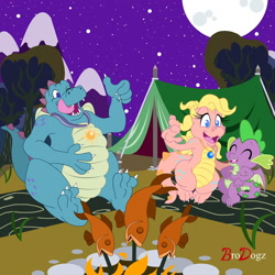 Size: 1280x1280 | Tagged: safe, artist:brodogz, spike, dragon, fish, camping, campsite, cassie (dragontales), commission, cooking, cute, dead, dragon tales, dragoness, eyes closed, female, fire, male, moon, night, night sky, one eye closed, ord, signature, sky, spikabetes, tent, tongue out, trio, winged spike