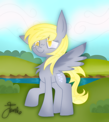 Size: 800x900 | Tagged: safe, artist:junko, derpy hooves, pegasus, pony, chest fluff, cloud, cute, derpabetes, digital art, eyelashes, female, floppy ears, mare, raised hoof, signature, smiling, solo, spread wings, wings