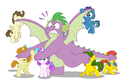 Size: 1280x845   Tagged: safe, artist:aleximusprime, pound cake, princess flurry heart, pumpkin cake, spike, oc, oc:annie smith, oc:apple chip, oc:storm streak, alicorn, dragon, earth pony, pegasus, unicorn, flurry heart's story, apple twins, bow, cake twins, covering eyes, don't look at it, fat, fat spike, freckles, offspring, older, older flurry heart, older pound cake, older pumpkin cake, older spike, parent:applejack, parent:oc:thunderhead, parent:rainbow dash, parent:tex, parents:canon x oc, parents:texjack, peaking, pigtails, shielding face, siblings, simple background, surprised, think of the children, transparent background, twins, vector, winged spike, wings