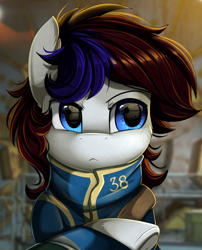 Size: 1424x1764   Tagged: safe, artist:pridark, oc, oc only, earth pony, pony, blue eyes, clothes, crossed hooves, crossover, fallout, patreon, patreon reward, solo, underhoof, vault suit, video game crossover
