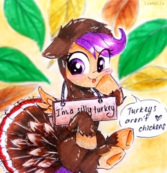 Size: 2322x2396   Tagged: safe, artist:liaaqila, scootaloo, bird, pegasus, pony, turkey, cute, cutealoo, scootachicken, scootaloo can fly, scootaturkey, sign, silly, silly face, silly pony, traditional art, turkey costume