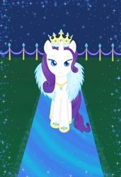 Size: 1080x1576 | Tagged: safe, artist:purrarity, rarity, pony, unicorn, crown, female, hoof shoes, jewelry, mare, necklace, queen, regalia, solo