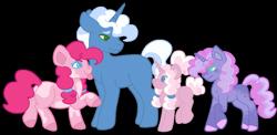 Size: 1280x625 | Tagged: safe, artist:handlz, pinkie pie, pokey pierce, oc, oc:funfetti, oc:marshmallow surprise, pegasus, pony, unicorn, alternate hairstyle, colt, family, female, filly, male, missing cutie mark, offspring, parent:pinkie pie, parent:pokey pierce, parents:pokeypie, pokeypie, shipping, simple background, straight, tongue out, transparent background