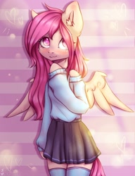 Size: 2000x2600 | Tagged: safe, artist:zefirka, oc, pegasus, anthro, clothes, female, skirt, solo, sweater