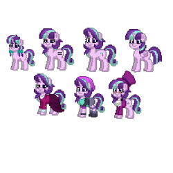 Size: 500x500 | Tagged: safe, snowfall frost, starlight glimmer, pony, unicorn, pony town, age progression, beanie, clothes, equal cutie mark, female, filly, glasses, hat, multeity, older, older starlight glimmer, pixel art, self ponidox, simple background, skirt, starlight cluster, suit, top hat, transparent background, younger