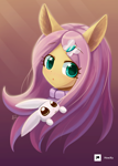 Size: 1000x1407 | Tagged: safe, artist:howxu, angel bunny, fluttershy, cute, looking at you, open mouth, shyabetes