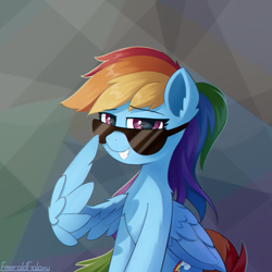 Size: 2000x2000 | Tagged: safe, artist:emeraldgalaxy, rainbow dash, pegasus, pony, chest fluff, chromatic aberration, ear fluff, female, grin, looking at you, mare, sitting, smiling, solo, sunglasses, wing hands, wings