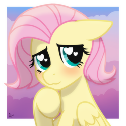 Size: 2048x2048 | Tagged: safe, artist:whitequartztheartist, fluttershy, pegasus, pony, blushing, cute, female, heart, heart eyes, short hair, shyabetes, solo, wingding eyes