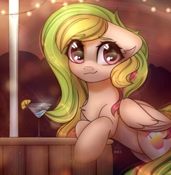 Size: 2220x2271 | Tagged: safe, artist:reterica, oc, oc only, oc:fruity extra, pegasus, pony, chest fluff, cocktail, cocktail glass, commission, eye clipping through hair, female, food, lemon, mare, smiling, solo, string lights, ych result