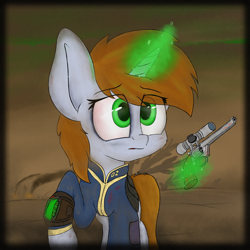 Size: 3900x3900 | Tagged: safe, artist:machstyle, oc, oc only, oc:littlepip, pony, unicorn, fallout equestria, alone, blood, bust, clothes, colored, dead tree, dirt, dirty, dust, eye clipping through hair, eyebrows, eyebrows visible through hair, fanfic, fanfic art, female, glowing horn, green eyes, gun, hair over eyes, handgun, helpless, high res, hooves, horn, little macintosh, lost, magic, one hoof raised, pipbuck, portrait, radiation, revolver, sad, smoke, solo, telekinesis, tree, unicorn oc, vault suit, wasteland, weapon