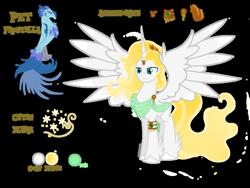 Size: 1024x768   Tagged: safe, artist:michellminor, oc, oc:apollo, alicorn, phoenix, alicorn oc, horn, pet, reference sheet, solo, wings