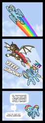 Size: 1388x3778   Tagged: safe, artist:toonbat, rainbow dash, oc, oc:sky dreamer, unicorn, jealous, rocket, rocket pack