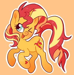 Size: 1965x1983   Tagged: safe, artist:alexbeeza, sunset shimmer, pony, unicorn, blushing, cute, female, heart, mare, one eye closed, open mouth, orange background, shimmerbetes, simple background, solo, wink